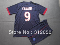 Paris Saint Germain PSG 2013 14 home dark blue soccer jersey and short football uniforms kits  #9 CAVANI