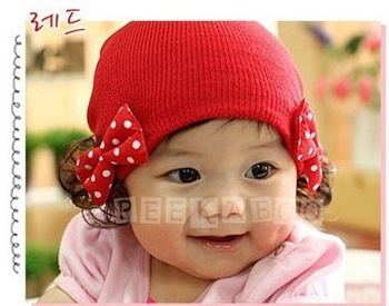 Free Shipping Cute Knitted Cotton Butterfly Tie Baby Christmas Wig Hat /Kids Cap/Infant Cap/Beanie Hat Skull Cap/Toddler Hats