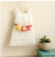 DS3274  Girls ruffle white party  dress  5pcs/lot