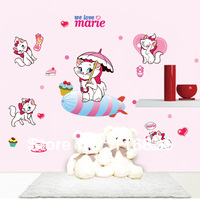Free Shipping new 2014 for decorative we love marie cute cat  Wall Stickers Decal for living room diy Decoration  50*70cm SI5760