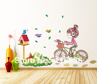 2014 New for decorative bird cage riding bike girl Wall Stickers Decal for home room diy Decoration 50*70cm SI5762