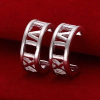 Factory price top quaility 925 sterling silver jewelry earring fine half circle roman number drop earring free shipping SMTE046