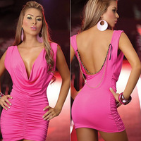 On Sale ! 2014 New arrival Women Sexy Short Dress , Low Bosom Deep O-back Short Dresses,Nightclub Sheath Dresses,Sexy Club Dress