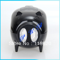 Free Shipping! 2013 new Mini Mobile Cute Engineering Pig Shaped Speaker Sound Box with TF/USB/FM Radio with retail package