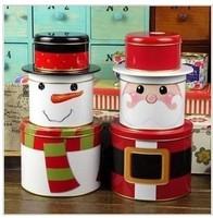 Free shippping  Home decor Building blocks tin snowily tinplate Snowman & Santa Claus storage box