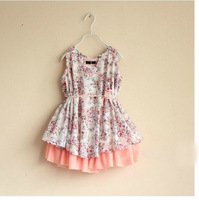 DS3276  Girls pink floral print full-circle dress with tulle petticoat