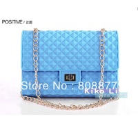 Silicone Vintage Fashion Candy Bag Colorful Fluorescent Shoulder Bag with Chain Free Shipping