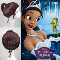 Cartoon The Princess And The Frog Tiana Wine Red Cosplay Wigs Japan Natural Synthetic Wigs Free Shipping