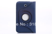 Hot-sale 5pcs 360 degree Rotary Fabric grain Leather Case & Pen Slot stand for Samsung Galaxy Tab 3 7'' P3200 SM-05
