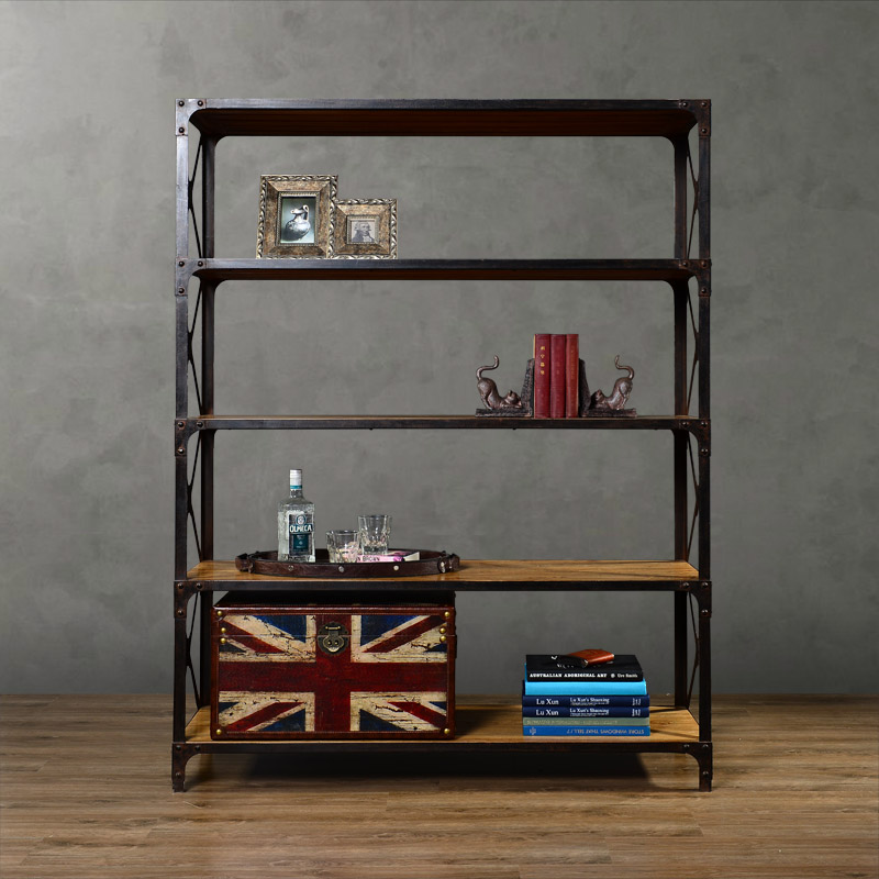 High quality fashion wood furniture wrought iron display cabinet bookcase bookshelf(China (Mainland))