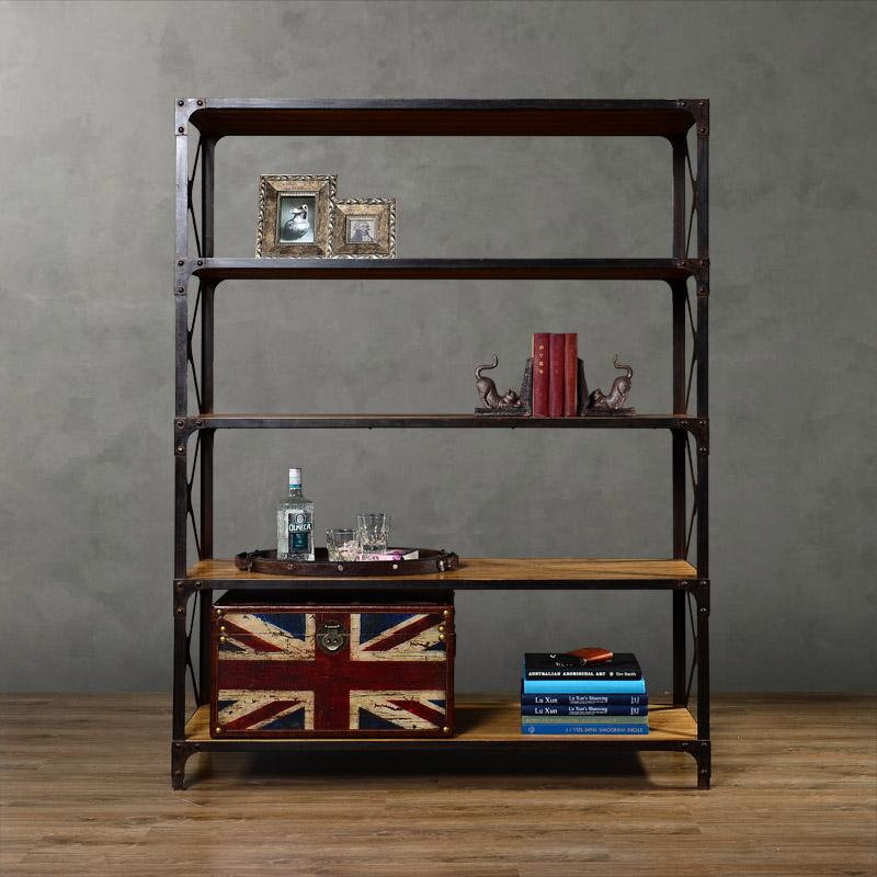 High quality fashion wood furniture wrought iron display cabinet bookcase bookshelf(China (Mainland))