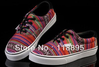 """ US WALL"" Brand Online Shop Newest Women's Gorgeous Sneakers 2013 Fashion Casual Striped Canvas Shoes Sale wholesale Drop ship"