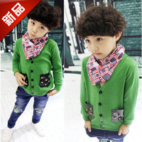2013 autumn children boys fashion skull rivet pocket sweater cardigan boys sweaters