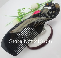 Wholesale 5Pcs/Lot Natural Ox Horn Phoenix Combs Carving Comb18CMx6CM-NJ710220