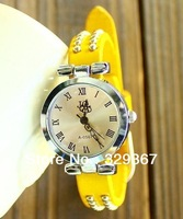 New 2013 brand fashion Wholesale Women Watch Ladies the hours Genuine leather vintage Punk Roma watch ladies wristwatches gifts