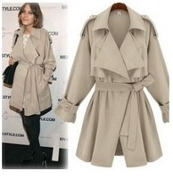 2013 autumn and winter long casacos coats womens winter fashion large lapel casual all-match slim trench outerwear female