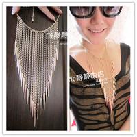 E0208 accessories fashion metal rivet punk personalized quality pendant ultra long tassel necklace 49g
