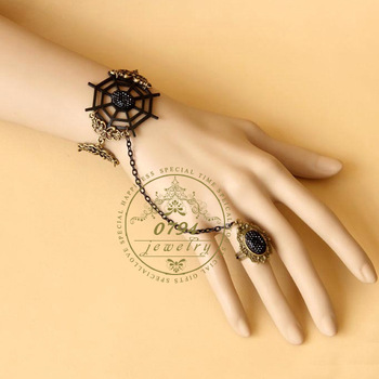 Free shipping! Brand genuine devil rule cobwebs Bracelet Ring Set Jewelry retro creative accessories in Europe and America