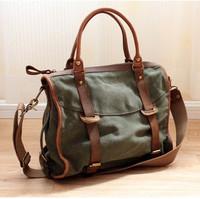 Man bag 2013 trend handbag messenger bag crazy horse leather canvas casual big bag