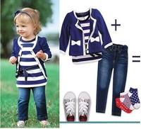 Hot sale!Free shipping 5sets/lot,baby girl clothes set (Coat +vest+Jeans),Baby Clothing set, Kids suit Children clothes