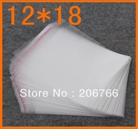 Free Shipping (800pcs/lot) clear Self Adhesive Seal Plastic Bag opp bag /poly bag 12*18cm Wholesale&Dropshipping