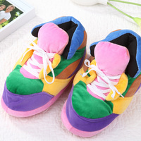 Colorful football warm cotton-padded shoes home slippers package with cotton-padded shoes multicolour sole winter indoor