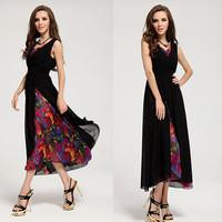 Free Shipping V-Neck  Sleeveless  A-Line Dress Sexy Dress Maxi Dress Size S-L MYB 56406