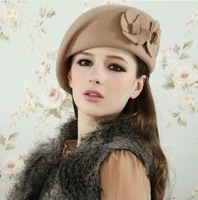 2013 Hot Sale Fashion double flowers spring and autumn winter woolen beret hat cap female hat female fashion  Free Shipping