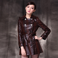 2012 fashion turn-down collar women's trench slim leather clothing outerwear