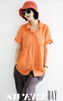 Ladies fashion turn-down collar short sleeve single breasted buttons decor loose linen blouse free shipping A738-A39