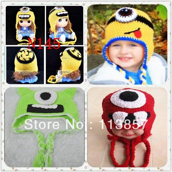 Minion crochet chapeau d 39 hiver earflap animaux bonnet for Portent of item protection
