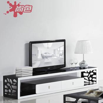 Fashion brief black toughened glass tv cabinet hardware sand frame living room tv cabinet ss-8008