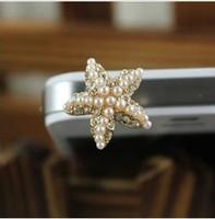 Free Shipping / New sweet 3D diamond starfish mobile phone dust plug / ear cap