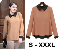 Long Sleeve Chiffon Shirts Blouses Turn-Down Collar Fashion Women's S-XXXL Plus Size Basic Shirt FS1316