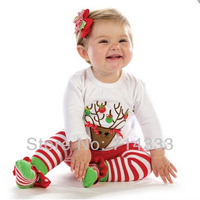 5sets/lot Autumn Children's Clothing Girls Christmas Deer Clothes Set with Long Sleeve T Shirt and Striped Pants Free Shipping