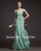 E0874 New Design Ruffle Floor Length Light Green Organza 2013 New Model One Shoulder Long Evening Dresses From Dubai