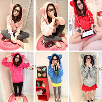 Free Shipping & Wholesale! Korean Fashion Cute Womens Girls Lovely Bear Ear Hoodies Jacket Cardigan Coat