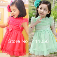 2013 summer children's clothing bow yarn baby child female child butterfly sleeve one-piece dress 5683