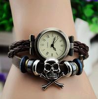 2013 New Puck Lady Vintage Charm Skull Pirate Bracelet Designer Rome Time Women Fashion Genuine Cow Leather Quartz Wrist Watch
