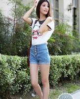 2013 new summer women turn up denim short, lady cotton button denim pants