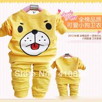 2013 New Arrivals Autumn Children's Clothing Set high quality 100% cotton Little Dog Print suit 4 set lot ZY1024