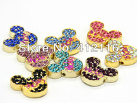 Wholesale Jewelry findings 2013 Cheap DIY 50 pcs Crystal Mickey  Mouse Beads Connectors for Shamballa Jewelry Free Shipping
