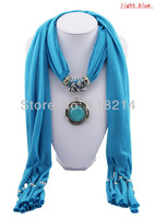Free Shipping New Arrival Fashion Pendant Scarf Winter Turquoise Tassel Cotton Scarves Women DA0004