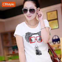 Ctrlstyle women clothing 2014 cotton render unlined upper garment of cultivate one's morality short sleeve T-shirt print shirt