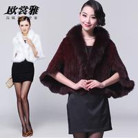 2012 sable mink knitted cape fur fox fur Women white