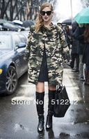 2014 new autumn winter women's handsome loose camouflage long-sleeved long coat windbreaker trench outwear free shipping xhf