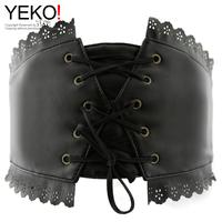 Yeko lace decoration embroidered ultra wide cummerbund women's belt all-match chromophous SF304