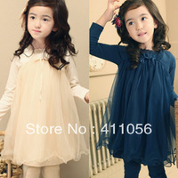 2013 autumn children's clothing fairy lace yarn child baby female child long-sleeve dress 5982