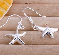 Free shipping lowest price wholesale for women's 925 silver earrings 925 silver fashion jewelry star drop Earrings SE090