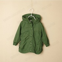girl clothing 100% cotton hooded hat trench outerwear spring and autumn